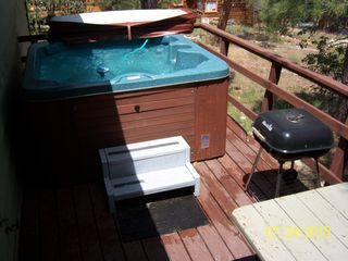 Big Bear Lake cabin photo - Deck ammenities; spa, picnik table, & barbecue