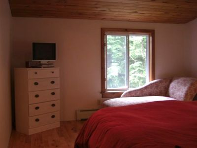 Red Bedroom with walk-in closet, cable,dvd,tv, facing the lake