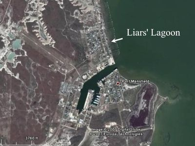 Harbor showing location of Liars' Lagoon.