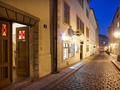 Mala Strana - Hradcany apartment rental - Entrance to our building by night