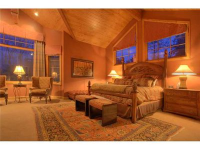 Master Bedroom Suite on top level. Cathedral ceilings, seating, desk, fireplace