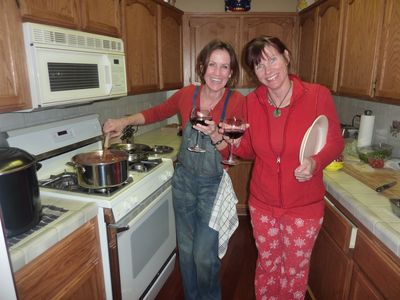 Heavenly Valley house rental - Cousins look to cook! The kitchen is not huge, but it's loaded with everything!
