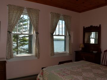 Water views from the double bedroom