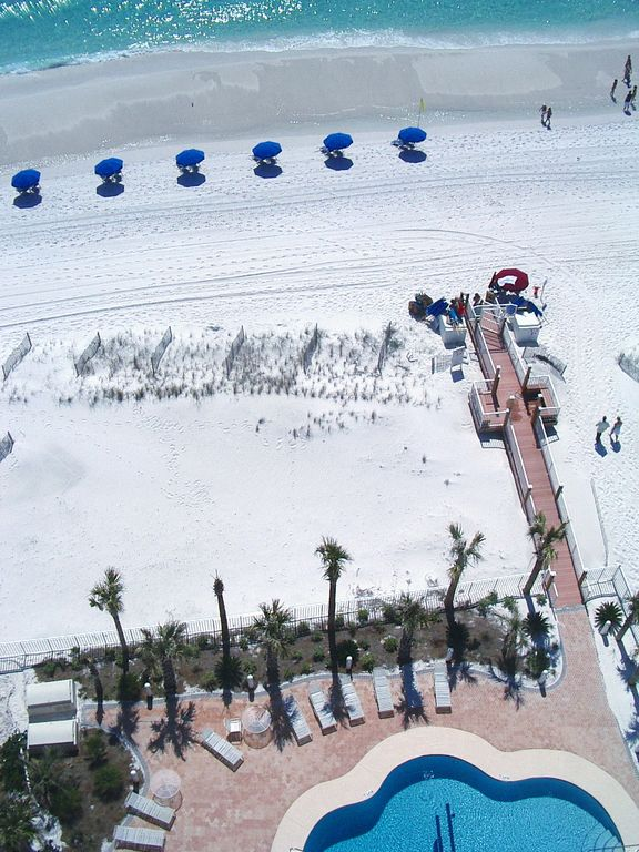 Beach walkover. You'll be right on Destin Towers privately owned beach.