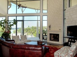 Lakeway estate photo - Relax in the Beautiful Living Room w. Fireplace & Flat Screen T.V.