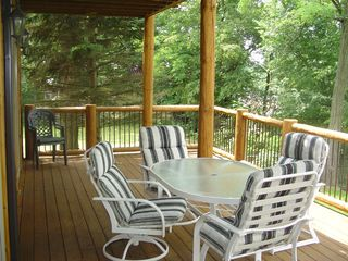 Cedar Lake cabin photo - 1st deck = 30'x12', 2nd floor balcony = 30'x8' We now have a second table.