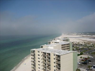 View from living area balcony. Spectacular sunsets; miles of gulf and beach.