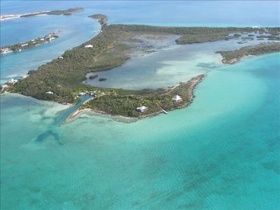 Sugar Loaf Cay, to the far left lower on the point is our home and cottage.