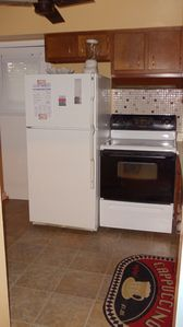 Fully equipped kitchen including electric stove and oven, fridge, microwave,etc.