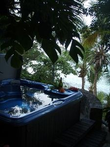 The outdoor hot tub is so inviting! Happy New year
