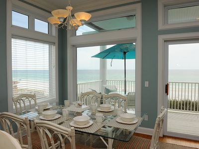 Dining area overlooking the ocean.