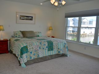 Bethany Beach house photo - Upstairs bedroom with king bed and beautiful cove view.
