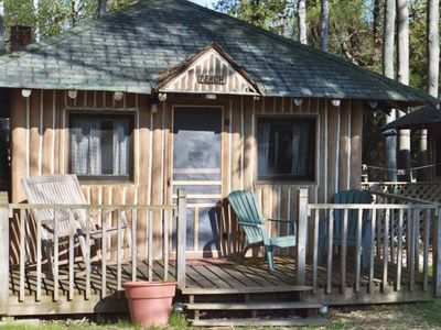 Lake Leelanau cabin rental - rocker on a cozy front porch waits for you