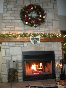 Fireplace in living room. Holiday season