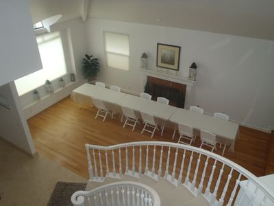 View from upstairs, looking down into dining area