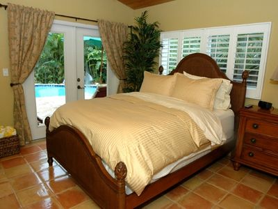Fort Lauderdale villa rental - Queen Bedroom with French Doors to Pool Deck