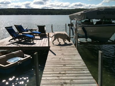 Dock and sun area in spring. Power boat not avail. Paddle boat and kayaks incl.