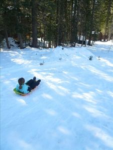 Sledding behind the cabin.