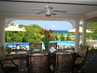 Marigot Bay villa photo - Outdoor dining looking out onto Marigot Bay