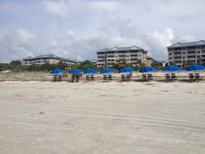 Beach area in front of Marriott Grand - Try out Pool Bar Jim's open to Public
