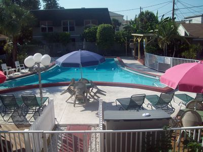 Madeira Beach cottage rental - view of the pool, our unit is just to the right of pool