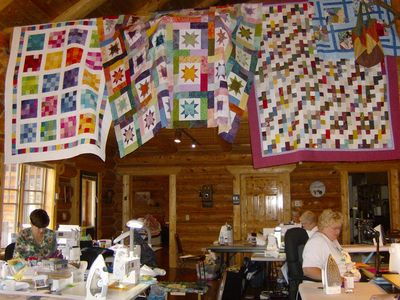 Quilters at a retreat