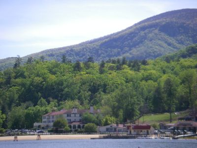VIEW OF LAKE LURE PUBLIC BEACH AREA