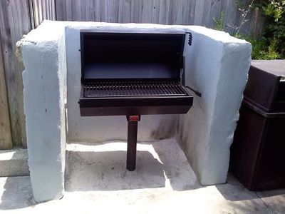 New Grill at the Tiki Hut. You may reserve this area with picnic tables.