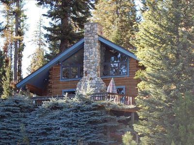 Cabin from Payette Lake - large river rock fireplace and deck with views