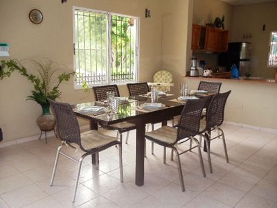 Spacious Indoor Dining Area set for 6