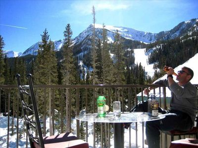 A toast to great spring skiing! Watch your family ski/board from the deck.