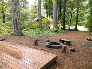 Blue River cabin photo - Deck by Shop and Firepit