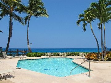 The pool, tropical foliage, lava shores, and endless Pacific Ocean. Enjoy!