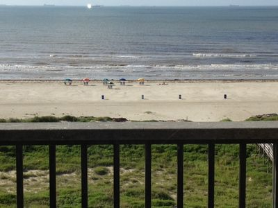 Galveston condo rental - Awesome view from the 7th floor private balcony off of the family room!