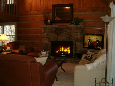 "Relax with the wood burning fireplace and 42"" TV"