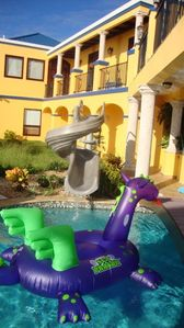 Whoosh! Splash! the little ones love our 30 GPM waterslide!