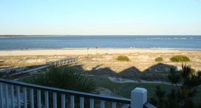 View from the master bedroom porch of the boardwalk to beach