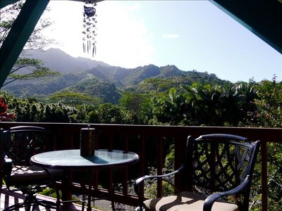 Hanalei bungalow rental - evening on the private deck just off the enclosed lanai.