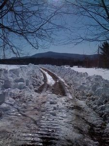 Windham chalet rental - The private road in wintertime
