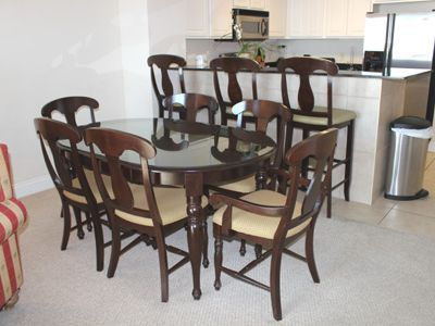 Dining table has seating for six