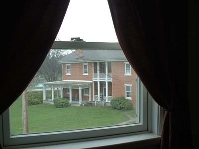 window view of the 1830 farmhouse.