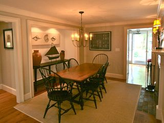 Nantucket Town house photo - Dining Room (table extends to seat 10) with Fireplace