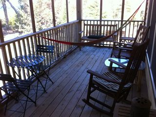 screened in porch on lakeside, for dining and sleeping