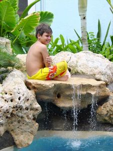 Kids love our pool and waterfalls.
