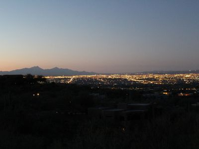 View south over Tucson towards the Santa Rita mountains and into Mexico.