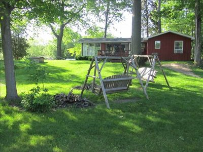 firepit and lawn swings