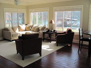 Clover house photo - Large sunroom with entertainment center & more lake views!