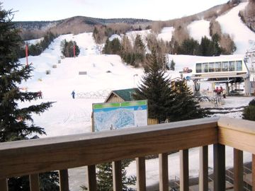 Step right out to the Kaatskill Flyer, Hunter's main ski lift to the top