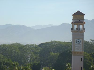 The Sierra Madres and our clock tower.