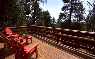 Relax on the deck in the pine trees